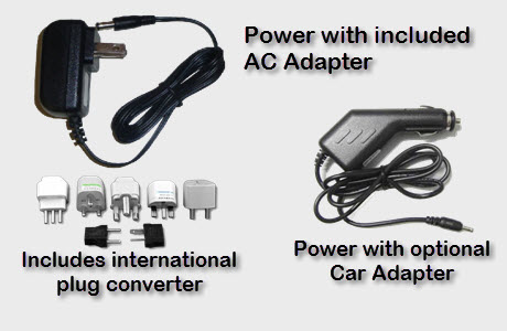 Power with International AC or from Car