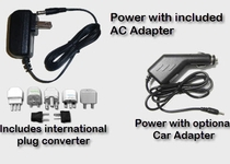 Power with International AC Adapter or from Car