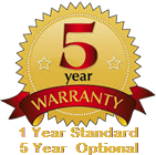 Standard 1 Year Warranty Included, 5 Year Extended Warranty optional