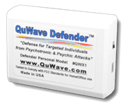 QuWave Defender in white to protect against psychic attacks